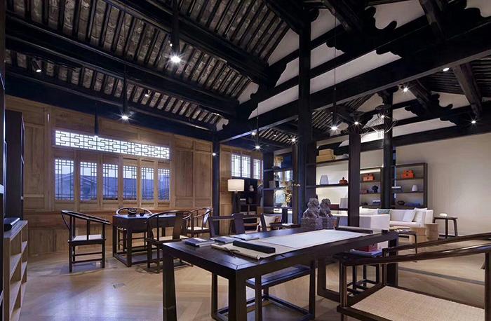 中式书房酒店家具,包含办公桌,办公椅